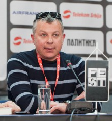"Igor Ivanov  film director  of ""Room with piano""  at press conference"