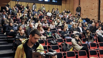 Audience at Shamil Alyev\'s lecture at Faculty of Dramatic arts